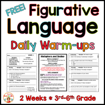Figurative Language Warm-Up FREE – Similes and Metaphors