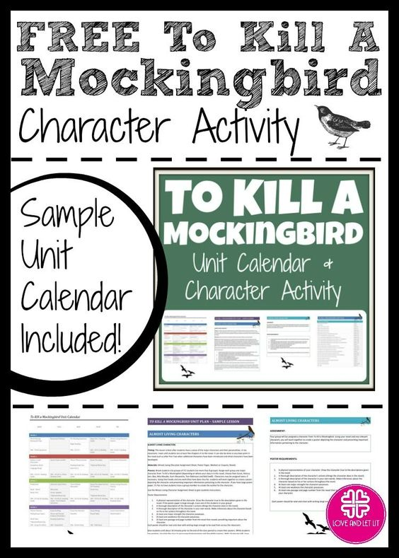 FREE To Kill a Mockingbird Unit Calendar and Character Activity