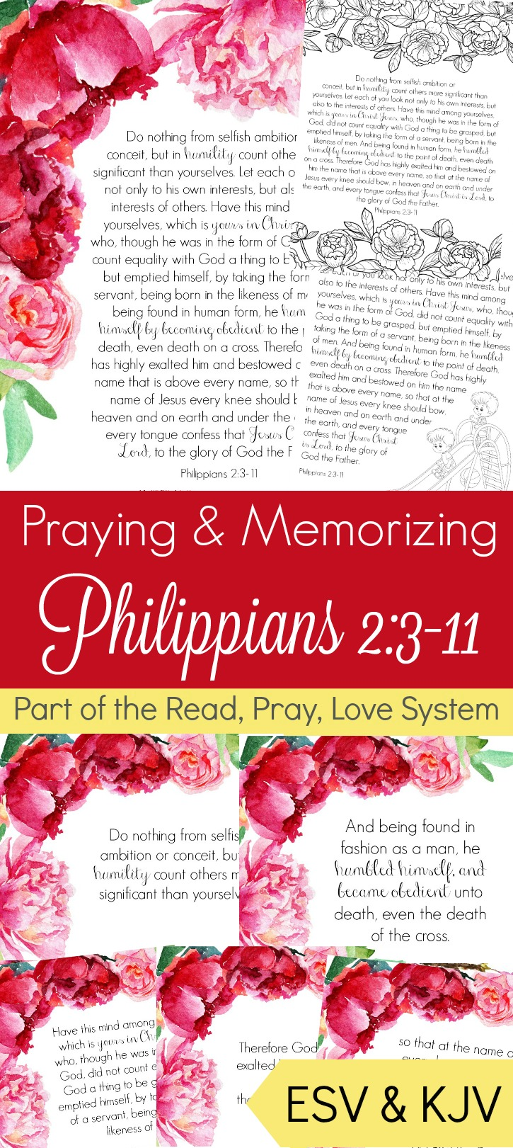 Memorizing scripture to add to your prayer time is an amazing practice. It is even better when you can do it as a family. Philippians 2:3-11 is all about thinking of others and I think that is a great place to start!