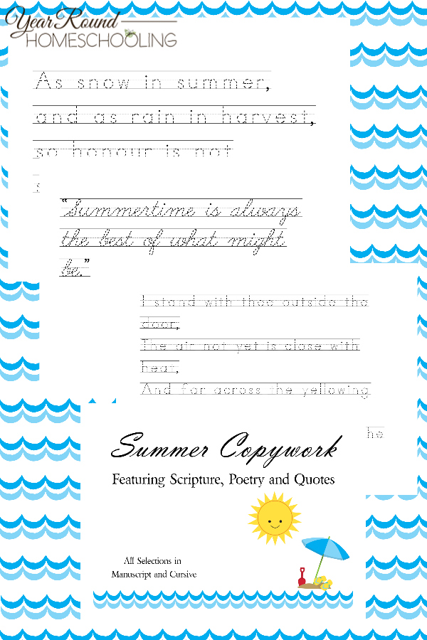 If you are wanting to continue to work on handwriting during the summer months then you are going to love these summer-themed copywork sheets. Inside, you will find scripture, poetry, and quotes in both cursive and manuscript!