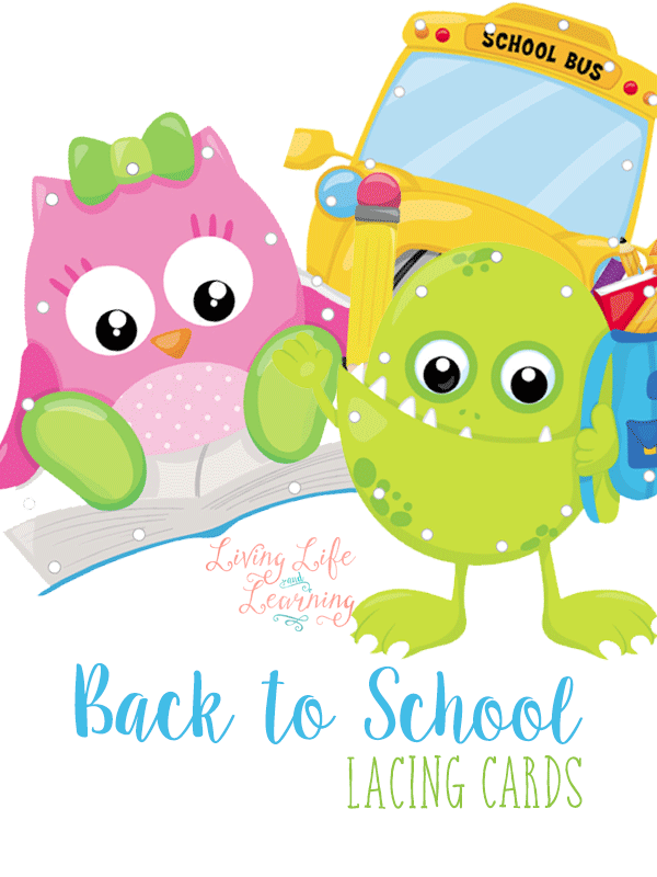 These Back to School Lacing Cards are a perfect addition to your homeschool manipulative collection! Not only are they cute but your children will enjoy practicing their hand and eye coordination while gearing up for the new school year.