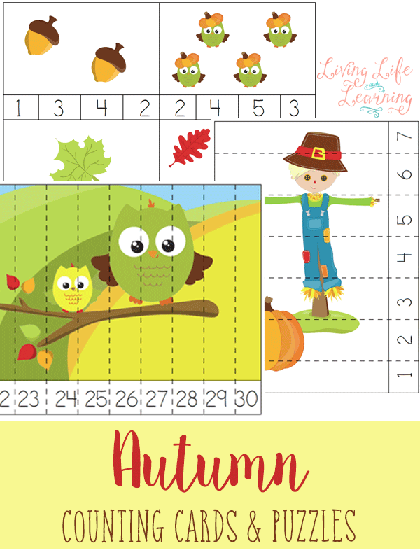 If you enjoy doing themes in your homeschool then you are going to love these fall counting cards and puzzles! Your children will have fun revealing the fun fall pictures that are shown after counting correctly!
