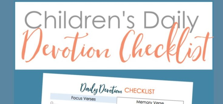 Children's Daily Devotion Check List