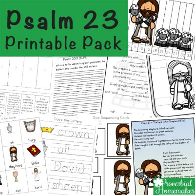 Learning Psalms 23 is an amazing passage to study in your homeschool because it is a perfect passage to remember in times of struggles, in moments of fear and help provide reassurance of God's love their whole lives!