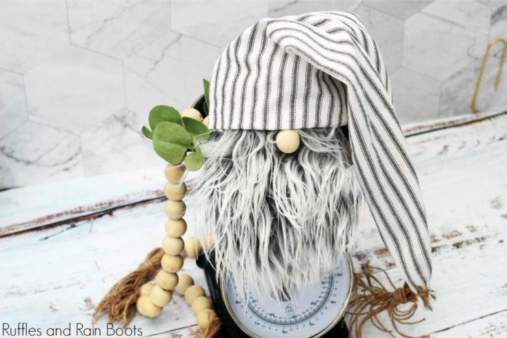 DIY Farmhouse Gnome in Only 20-Minutes - No Sewing!